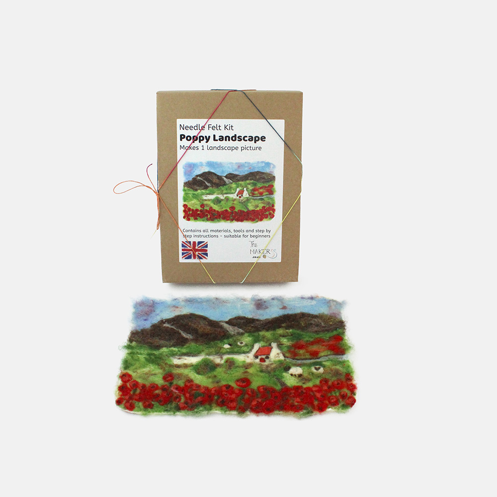 The Makerss Needle Felted Poppy Landscape Picture Kit