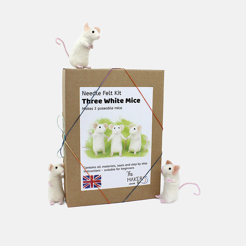 The Makerss Needle Felted White Mouse Kit