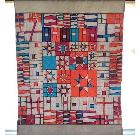 Modern sampler quilt  – window panel